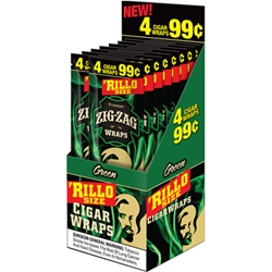 Zig-Zag Rillo Size Cigar Wraps Green